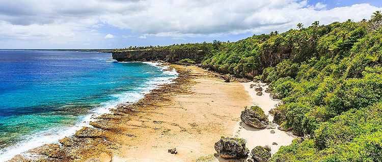The rugged nature beach shores of Nuku'alofa, Tonga