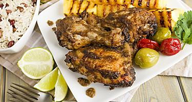 Traditional Jamaican Jerk Chicken marinated with hot spice