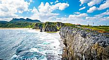 Rocky cliff at a beach in Okinawa, Japan