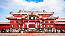 Gate of Shuri Castle's main hall in Okinawa, Japan