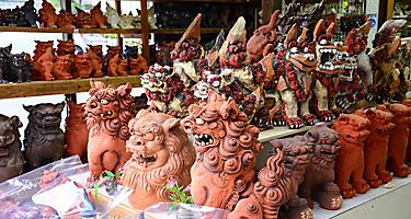 Traditional Ryukyu Shisa Guardian Lion Clay Pottery in Okinawa, Japan