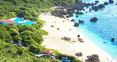 Beautiful Beach with resort in Okinawa, Japan