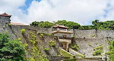 Ancient Kyueimon Gate in wall of Shuri Castle in Okinawa, Japan