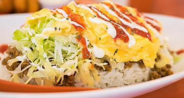 Taco filling with rice and cheese, fusion dish of Okinawa, Japan