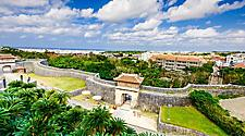 The outer wall of Shuri Castle in Okinawa, Japan