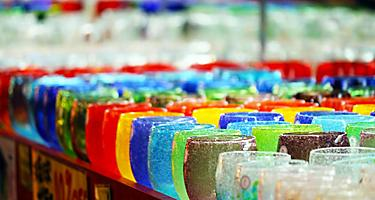 Colorful glasses on sale at a souvenir shop in Okinawa, Japan