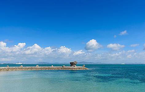 View from the Okinawa sea road in Okinawa, Japan