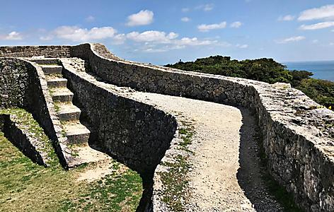 Part of the stone wall with stairs at Nakagusuku castle in Okinawa, Japan