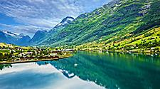 View of the mountain landscape in Olden, Norway