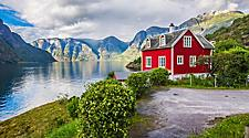 A red house in Sognefjord, Norway