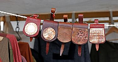 An assortment of traditional Norwegian leather bags