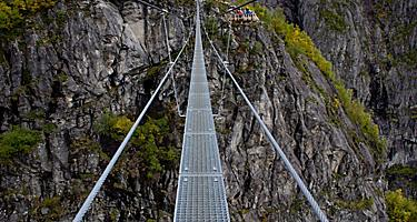 A narrow metal bridge in Norway
