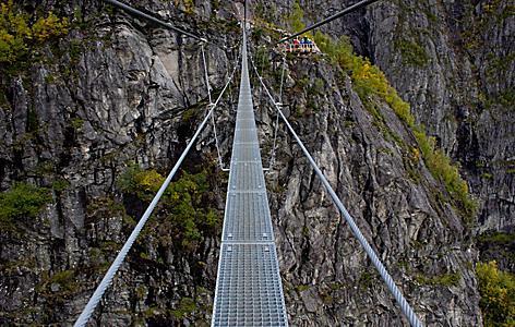 A narrow metal bridge in Norway