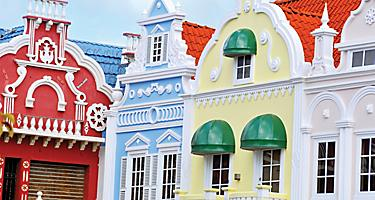 Closeup of colorful Dutch architecture, Oranjestad, Aruba