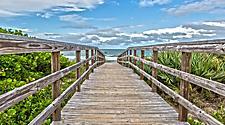 Orlando, Florida Wooden Beach Walkway
