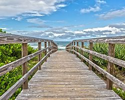 orlando florida beach wooden walkway