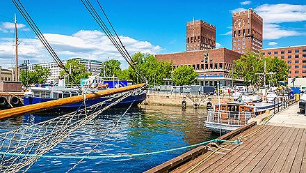 View of Oslo's city hall from harbor
