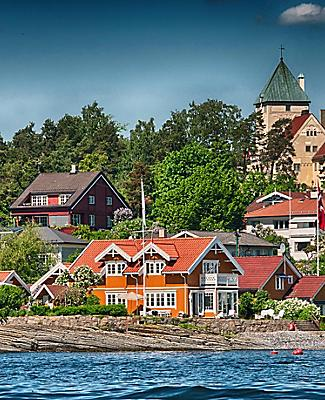 Buildings on the coast of Oslo, Norway