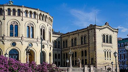 The parliament building in Oslo, Norway