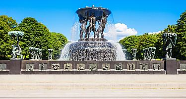 A fountain in Vigeland Sculpture park in Oslo, Norway