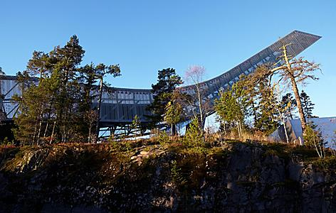 View of the Holkmenkolen ski jump in Oslo, Norway