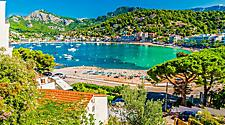 View of the bay at Porte de Soller in Palma de Mallorca, Spain