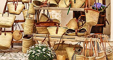 A straw bag market in Palma de Mallorca, Spain