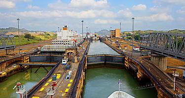 The first lock of the Panama Canal from the Pacific Ocean with a view from a ship