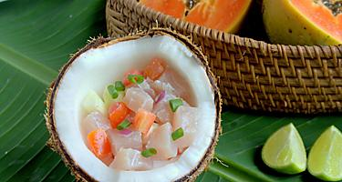 Traditional raw tuna salad in Tahiti