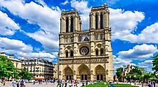 View of the front of the Notre Dame de Paris cathedral in Paris, France