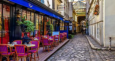 View of a typical Parisian cafe in Paris, France
