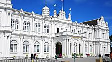 City Hall in George Town, a white colonial architecture building in Penang, Malaysia