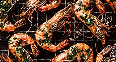Roasted tiger prawns on the barbecue