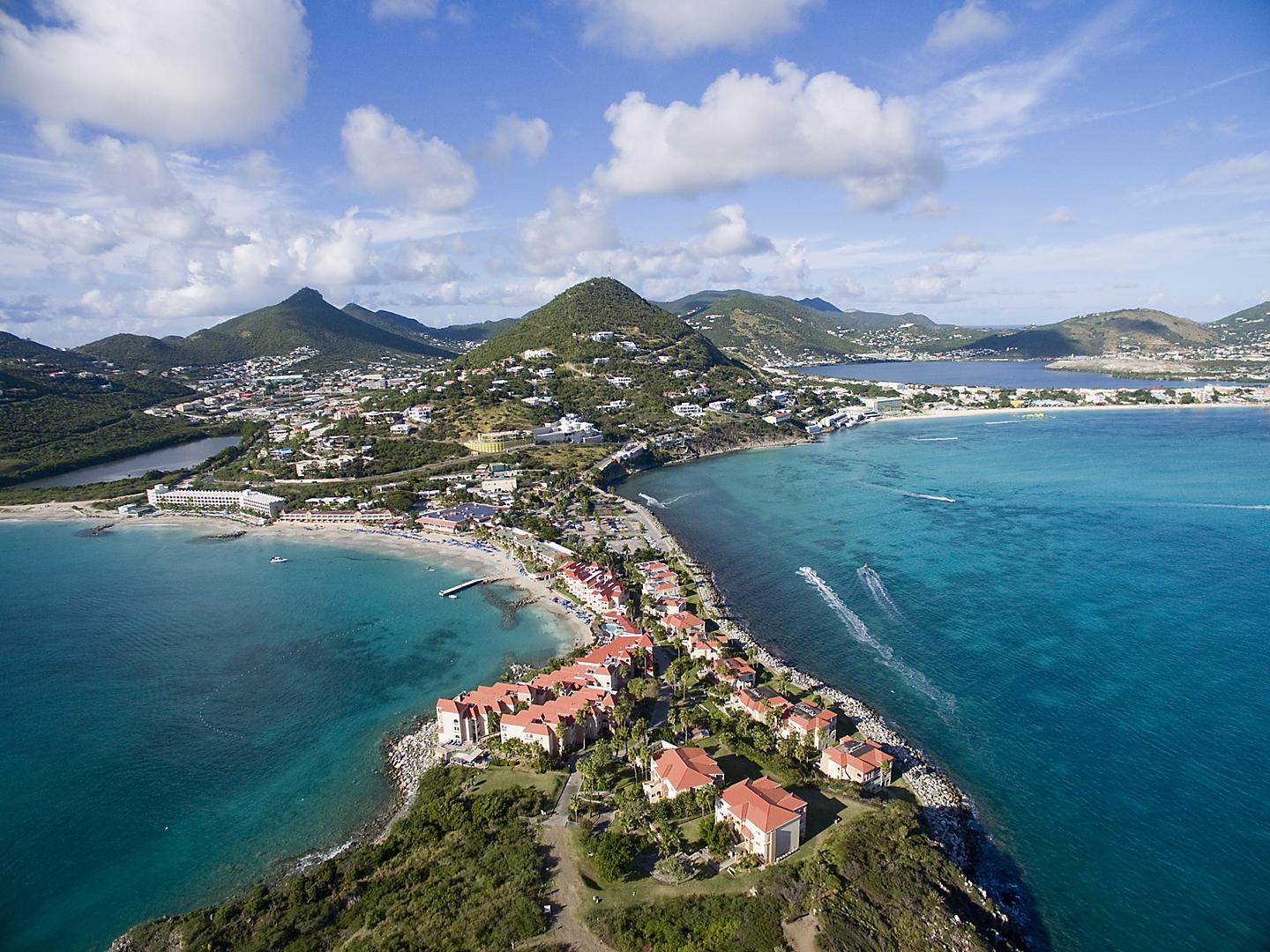 Philipsburg, St. Maarten, Great Salt Pond aerial