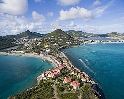 Aerial view of the Great Salt Pond, Philipsburg, St. Maarten