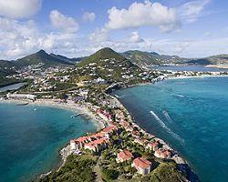 Aerial view of the Great Salt Pond, Philipsburg, St. Maarten