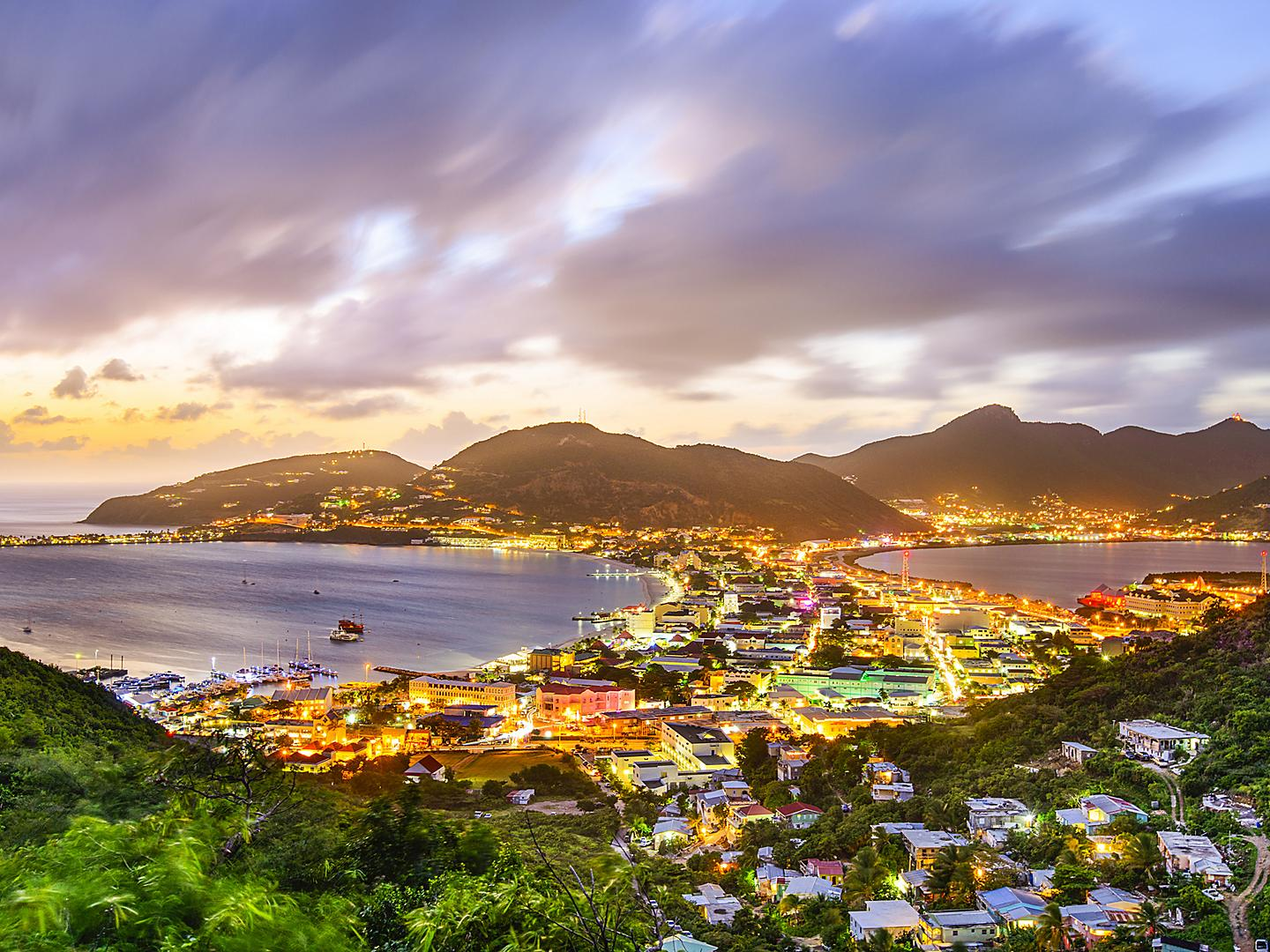 Philipsburg, St. Maarten, Great salt pond sunset lights