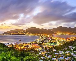 philipsburg st maarten great salt pond sunset lights
