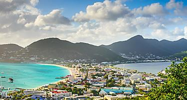 Philipsburg, St. Maarten, cityscape at the Great Salt Pond.