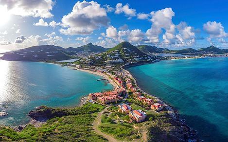 Aerial View of the Coast, Philipsburg, St. Maarten