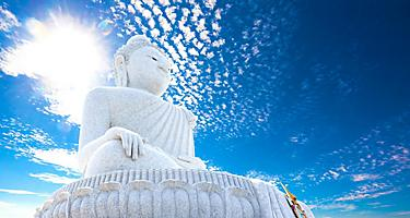 The big buddha statue at the temple, monastery in Phuket, Thailand