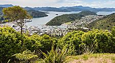 Aerial view of Picton and Marlborough Sounds in New Zealand