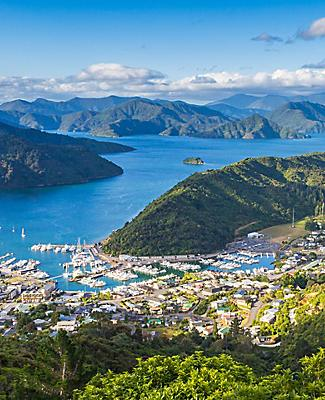 The view of Picton, New Zealand from Tirohanga Tack