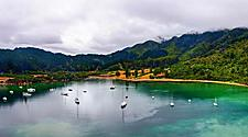 Boats in Whatamago Bay, in the vicinity of Picton, New Zealand