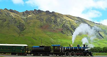 Historic steam train in Picton, New Zealand