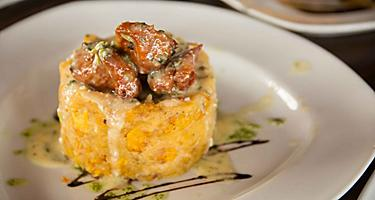 A plate of mofongo, a local cuisine specialty in Puerto Rico