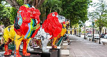Painted statues of lions on the streets in Ponce, Puerto Rico