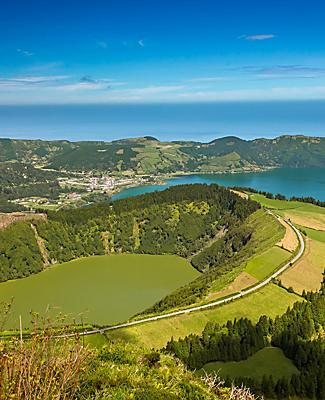 Panoramic view of Sete Cidades Lagos in Ponta Delgada, Azores