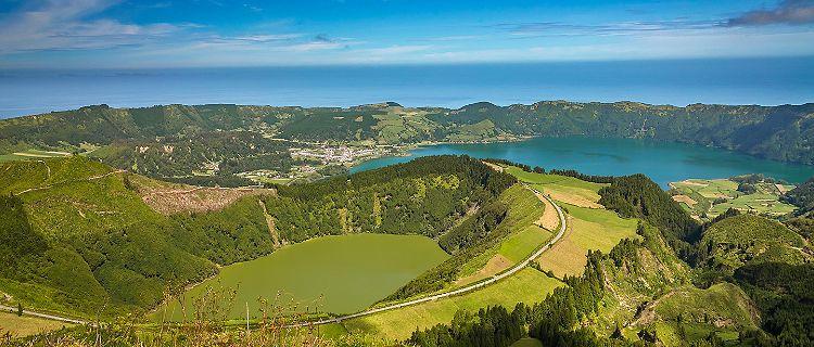 Panoramic view of Sete Cidades Lagos in Ponta Delgada, Azores
