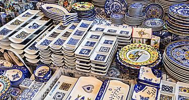 An assortment of ceramic souvenirs in Portugal